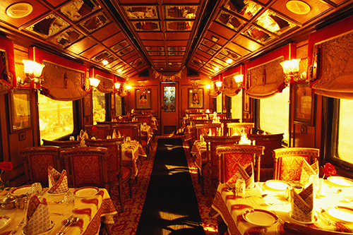 Interiors of a train, Palace on wheels, India